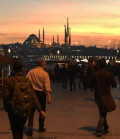 Scholars in sunset in Istanbul